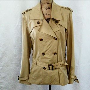 Ashley Stewart Tan Short Trench Coat Size: 18/20